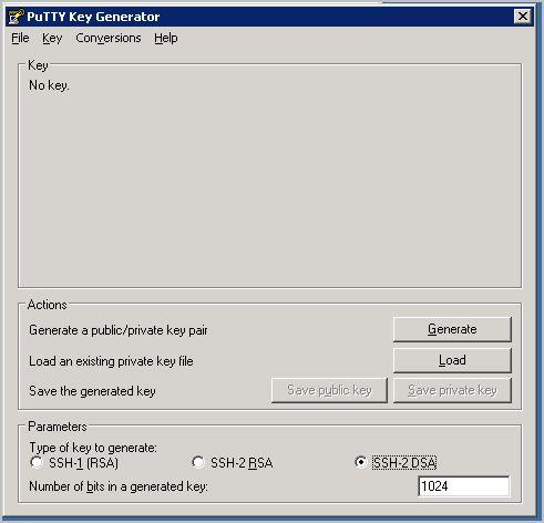 Generando las claves con PuTTYGen